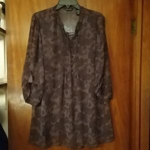 NY&CO sheer brown &blk paisley print blouse